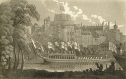 The City of London state barge passing up the Thames by Windsor Castle